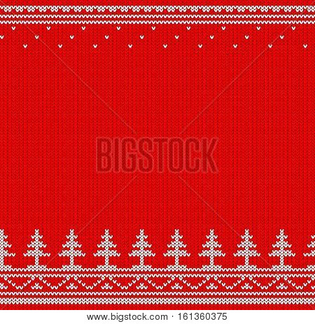 Red and white knitted jumper horizontal seamless pattern.