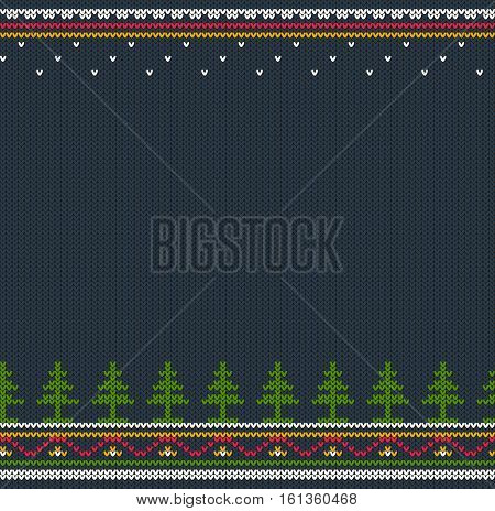 Seamless winter horizontal ornament pattern for a jumper sweater. Consists of bands and fir-trees included in swatches panel.