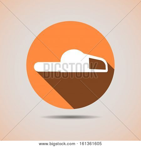 Construction Icon Of The Silhouette Of A Chainsaw In An Orange Background