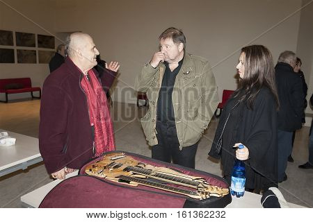 PIACENZA, ITALY - DECEMBER 28, 2012: Meeting of famous English singer, musician, songwriter, member of progressive rock bands King Crimson and Emerson, Lake&Palmer Greg Lake with Paolo Tofani