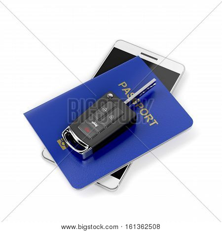 Car key passport and smartphone on white background, 3D illustration