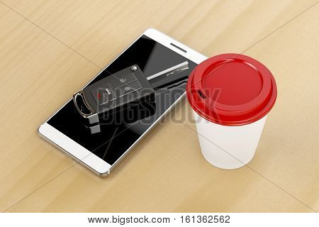 Smartphone car key and coffee cup on wooden table, 3D illustration