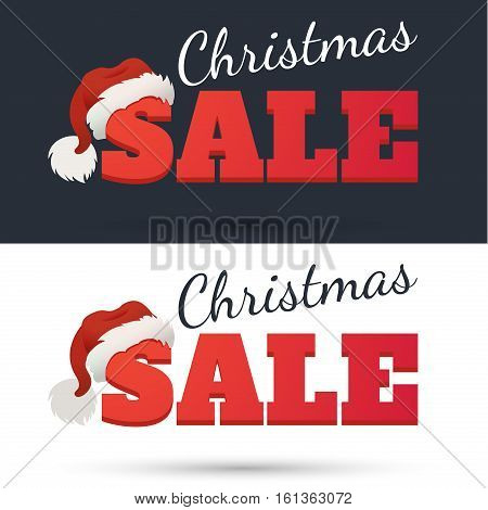 Vector Design template. Christmas Sale Text for Promotion on dark background. The word sale in the cap of Santa Claus.