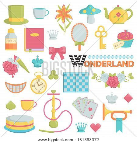 Big collection of wonderland and through the looking glass fairy tales themed icons. Flat illustrations of items and accessories from the story book about alice adventures.
