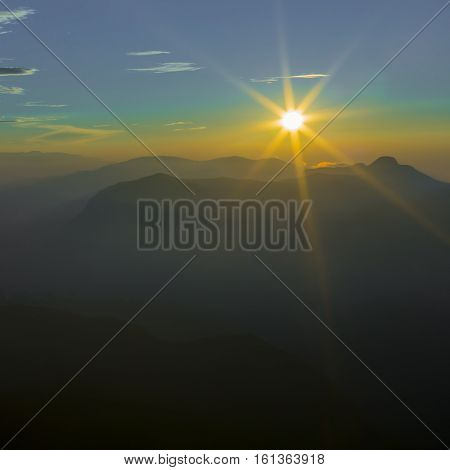 Landscape. Sunrise On The Mountain Adam's Peak. Sri Lanka.