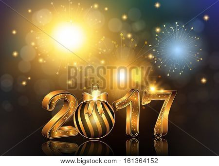 Happy New Year 2017 background / greeting card with Brightly Colorful Fireworks and colorful lights, on twilight background.