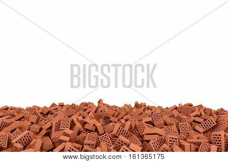 3d rendering of frame made of red bricks lying at the bottom on white background. Photo frame. Building material. Industry-specific background.