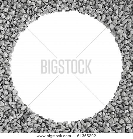 3d rendering of round frame made of stones lying at the edges with white empty space in the middle. Photo frame. Building material. Industry-specific background.