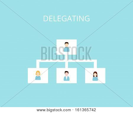 Delegating and Organization Structure icon. Assignment tasks concept flat vector illustration.