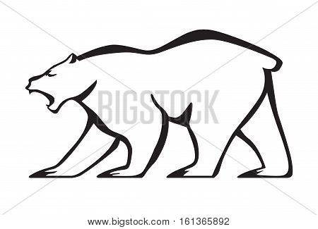 Roaring bear silhouette. Vector isolated on white background.