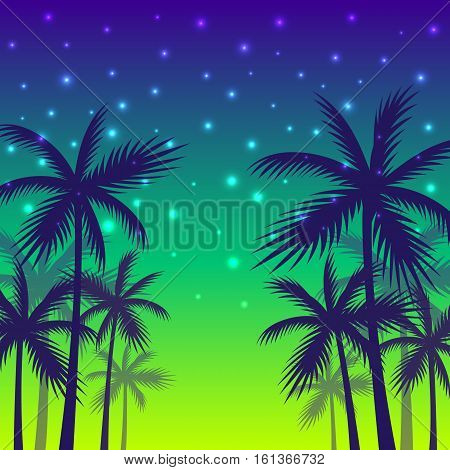 Poster With The Shadows Of Palm Trees Of Yellow-red Sunset Background.