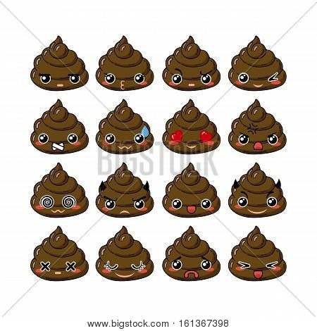 Kawaii vector poop emoticons set. Turd emoji, icons for chat, mobile applications and other business.