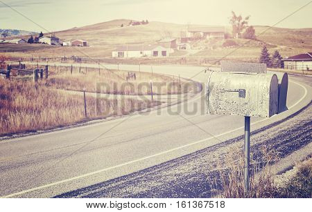 Vintage Stylized Mailbox Located By A Countryside Road