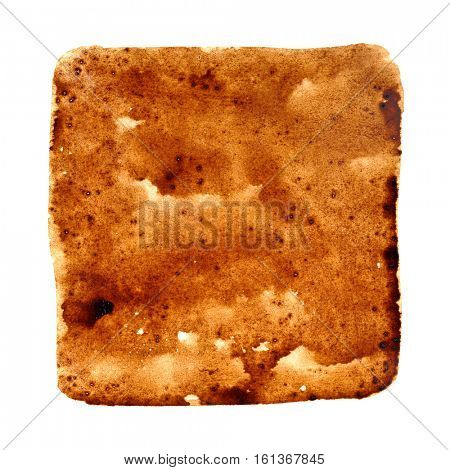 Square stain of spilt black coffee isolated over the background