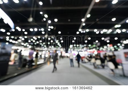 Blurred defocused background of public event exhibition hall business trade show concept