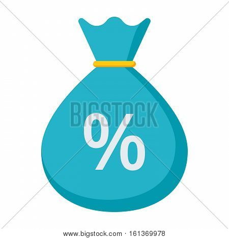 Money bag with sign percent concept for finance interest