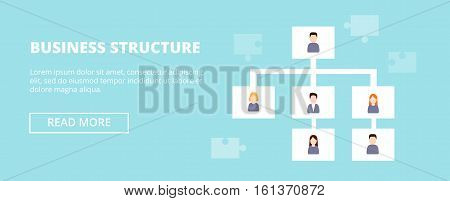 Business Structure horizontal banner with workers hierarchy. Flat design concept of delegating.