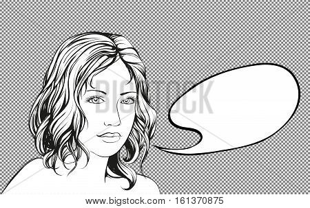 beautiful woman speak fram, bubble hand drawn vector illustration sketch cartoon