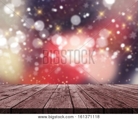 3D render of a wooden table looking out to a defocussed Christmas bokeh lights background