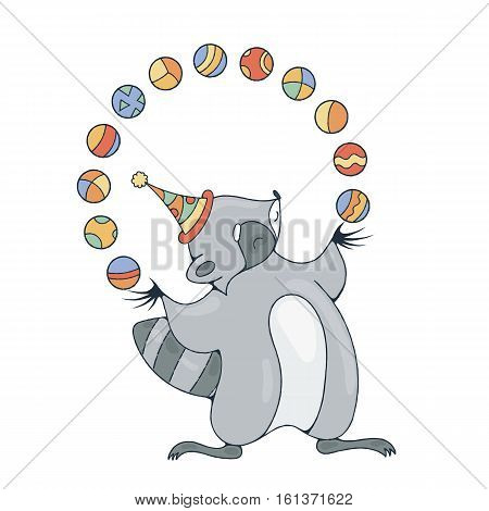 Illustration with a cheerful racoon playing with a balls. Vector image.