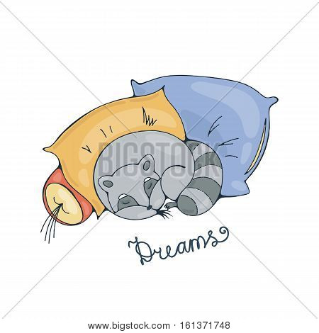 Illustration with a cheerful racoon sleeping on a pillows. Vector image.