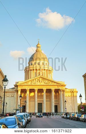 PARIS - NOVEMBER 2: The Pantheon building on November 2 2016 in Paris France. It's a secular mausoleum containing the remains of distinguished French citizens.