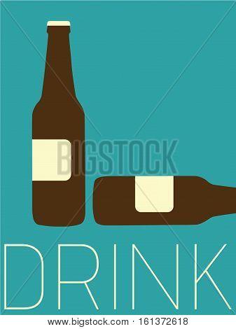 Vector Minimal Design Poster - Bottles - Drink