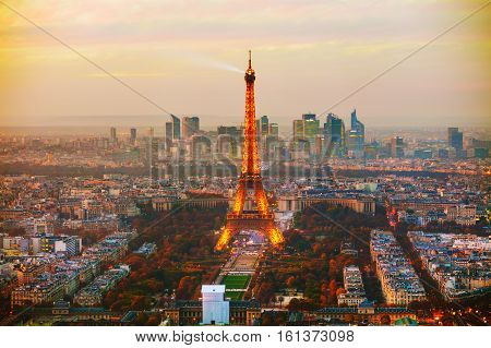 PARIS - NOVEMBER 1: Cityscape with the Eiffel tower aerial view on November 1 2016 in Paris France.