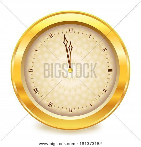 Gold shiny new year clock showing time close to midnight. Vector illustration