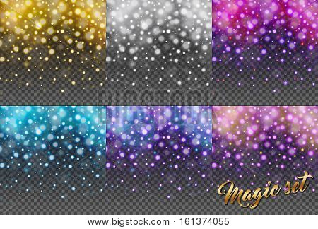 Magic set of glitter particles isolated on transparent background. Rain glitter particles. Falling Christmas Shining. Snowflakes snowfall. Sparkling texture. Star dust sparks. Vector illustration