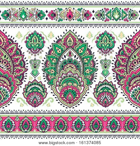 Beautiful Indian floral paisley seamless ornament print. Ethnic Mandala towel. Vector Henna tattoo style. Can be used for textile, greeting business card background, coloring book, phone case print