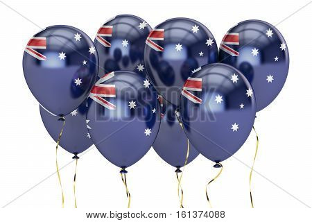 Balloons with flag of Australia holyday concept. 3D rendering isolated on white background