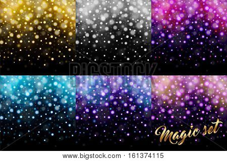 Magic set of glitter particles isolated on black background. Rain glitter particles. Falling Christmas Shining. Snowflakes snowfall. Sparkling texture. Star dust sparks. Vector illustration
