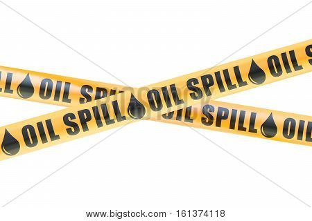Oil Spill Caution Barrier Tapes 3D rendering isolated on white background