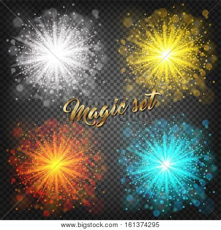 Set of glow light effect on transparent background. Star burst with sparkles. Gold silver orange blue glitter. Vector stock