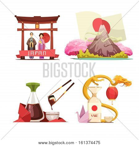 Japanese culture traditions for travelers 4 retro cartoon square composition with sushi and sake isolated vector illustration
