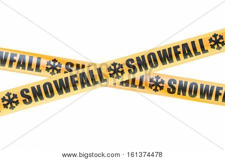 Snowfall Caution Barrier Tapes 3D rendering isolated on white background