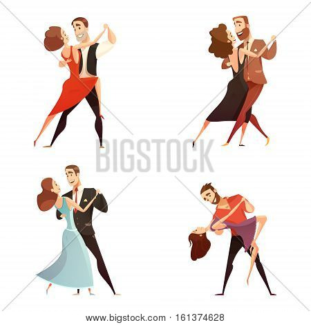 Dance pair retro cartoon set of men and women dancing together in classic repertoire flat vector illustration