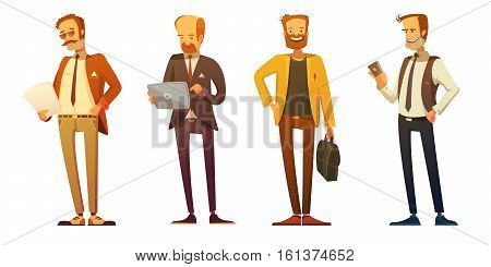 Business man dress code 4 retro cartoon icons set with businessmen at work isolated vector illustration