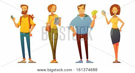 Professional purchaser with tablet analyzing market buyer and customer with cash dressed casually retro cartoon isolated vector illustration