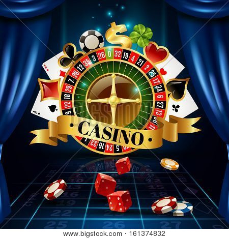 Casino night games roulette wheel circle composition with four-leaf clover luck symbol background poster vector illustration