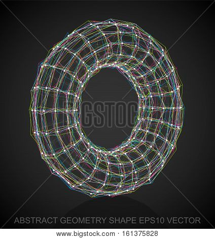 Abstract geometry shape: Multicolor sketched Torus with Reflection. Hand drawn 3D polygonal Torus. EPS 10, vector illustration.