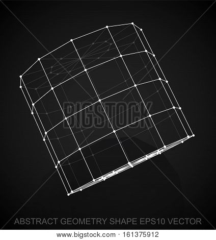 Abstract stereometry shape: White sketched Cylinder with Reflection. Hand drawn 3D polygonal Cylinder. EPS 10, vector illustration.