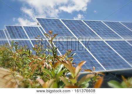 Photovoltaic Solar Panels On The Roof Of A Building