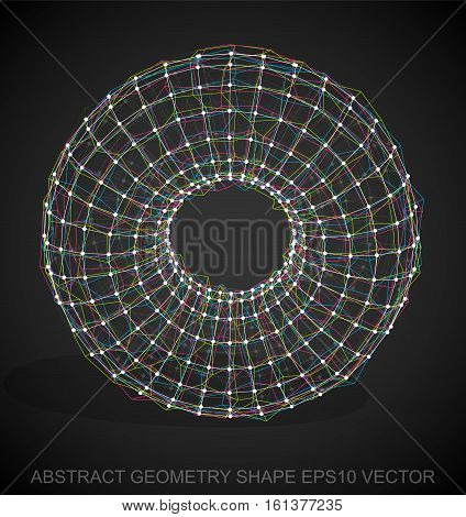 Abstract stereometry shape: Multicolor sketched Torus with Transparent Shadow. Hand drawn 3D polygonal Torus. EPS 10, vector illustration.