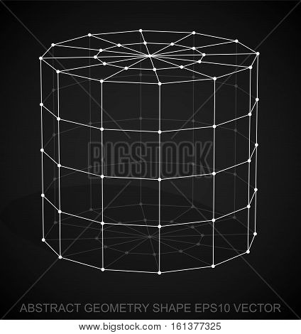 Abstract geometry shape: White sketched Cylinder with Transparent Shadow. Hand drawn 3D polygonal Cylinder. EPS 10, vector illustration.