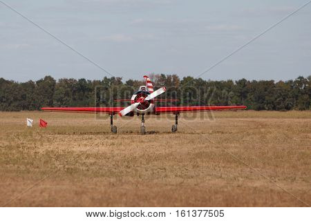 small sport light aircraft on the ground