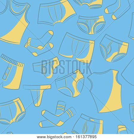 Doodle set with men's underwear seamless pattern. Casual underclothes for boys cartoon background.