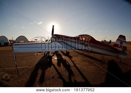 small light aircraft on the ground stay