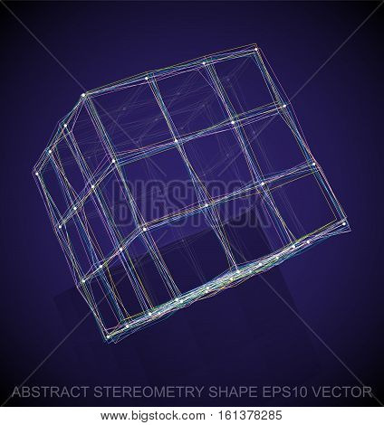 Abstract geometry shape: Multicolor sketched Cube with Reflection. Hand drawn 3D polygonal Cube. EPS 10, vector illustration.